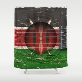 Old Vintage Acoustic Guitar with Kenyan Flag Shower Curtain