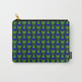 Tiled pattern of green squares and striped blue triangles. Carry-All Pouch