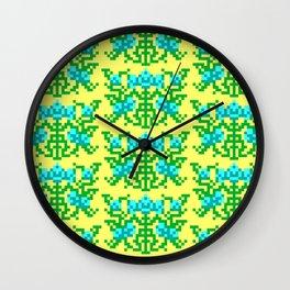 Pixel Floral Pattern - The Crimson Diamond Room Wallpaper Wall Clock