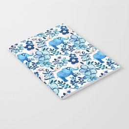 Blush Pink, White and Blue Elephant and Floral Watercolor Pattern Notebook