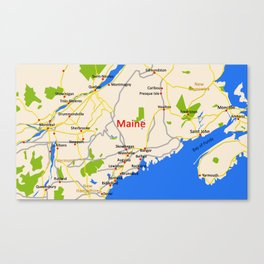 Map of Maine state, USA Canvas Print