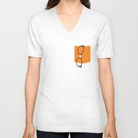 alex vause V-neck T-shirts featuring Alex Vause Glasses with Fake Print Pocket by Zharaoh