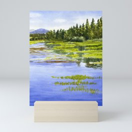 Peaceful Lake with Reflections vertical design Mini Art Print