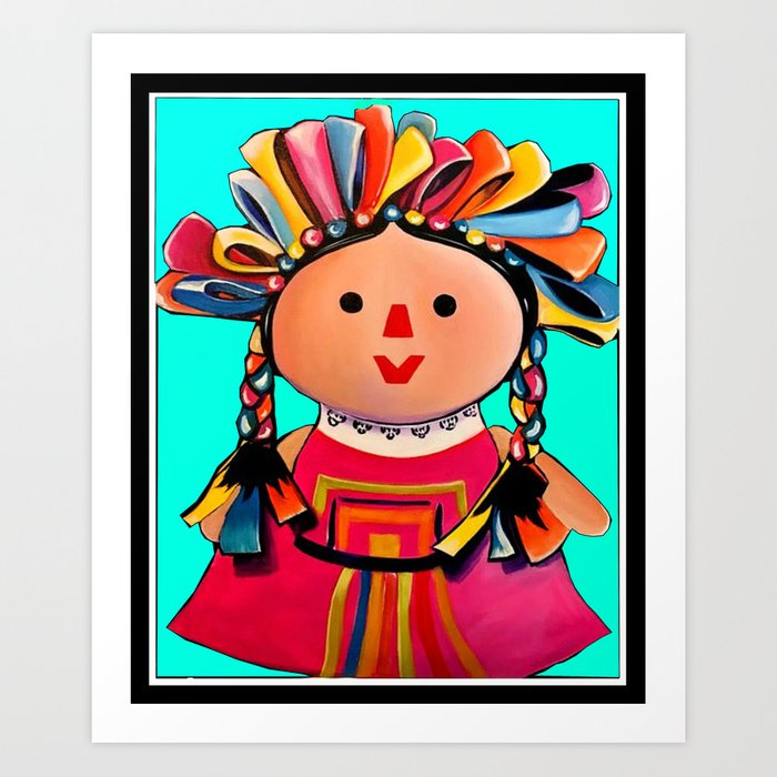 Mexican Maria Doll (turquoise) Kunstdrucke