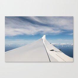 Mid-flight Airplane Window & Wing Canvas Print