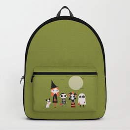 Neighborhood Trick or Treat Party on Green Backpack