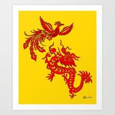 Phoenix Dragon Feng Shui Art Print