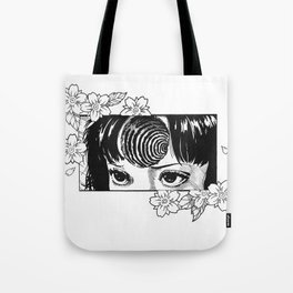 Junji Ito with cherry blossoms Tote Bag