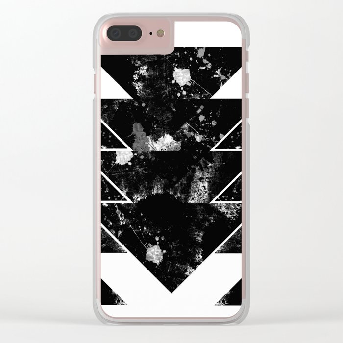 Up And Down - Black and white textured triangles, geometric, abstract Clear iPhone Case