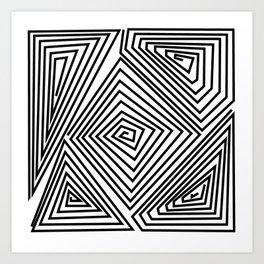 labirint black and wite design Art Print