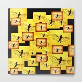 yellow bat collage Metal Print
