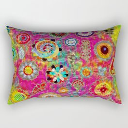 Boho Flowers Abstract mixed media digital art collage Rectangular Pillow