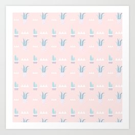 Blush pink blue white summer cactus modern floral Art Print
