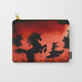 Little fairy with unicorn in the night Carry-All Pouch