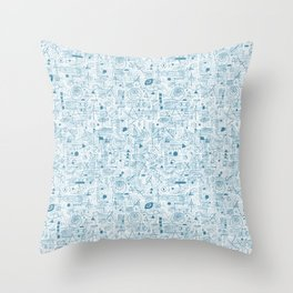 Blue and White Space Inspired Futuristic Pattern Throw Pillow