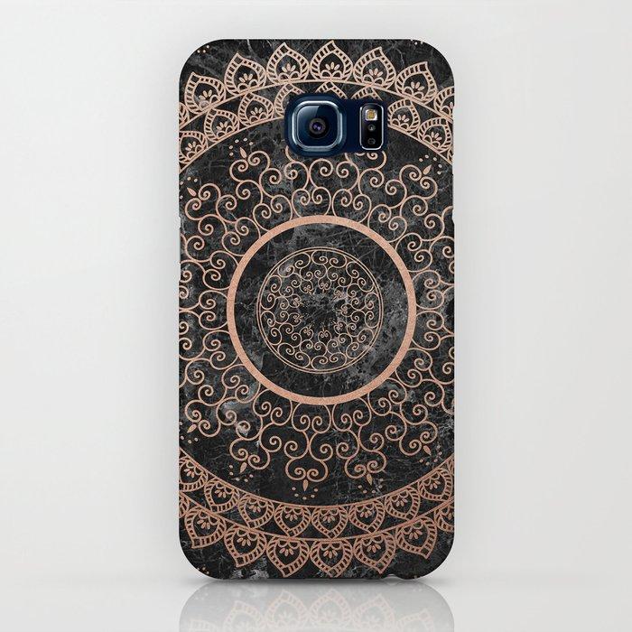 mandala - rose gold and black marble iphone case