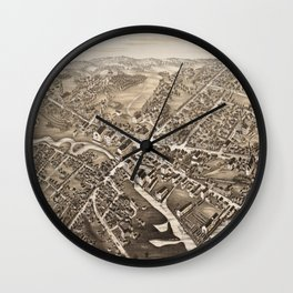 Vintage Pictorial Map of Medford Massachusetts (1880) Wall Clock