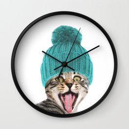 Cat with hat illustration Wall Clock