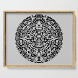 Mayan Calendar // Light Grey Serving Tray