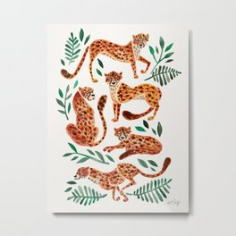 Cheetah Collection – Orange & Green Palette Metal Print