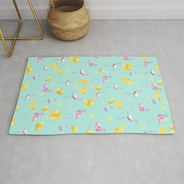 Flamingo Lemon Twist Summer Pattern #1 (Kids Collection) #decor #art #society6 Rug