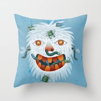 yeti Throw Pillows featuring Yeti by Santiago Uceda