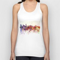 liverpool Tank Tops featuring Liverpool skyline in watercolor background by Paulrommer