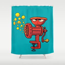 frown grinding machine produces bubbles Shower Curtain