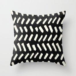 Tribal Dance Dot - Ivory on Black Throw Pillow