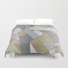 ABSTRACT LINES #1 (Grays & Beiges) Duvet Cover