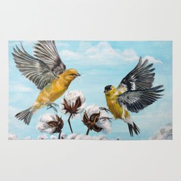 Golden Finches Picking Cotton Rug