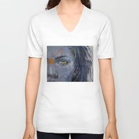 grey V-neck T-shirts featuring Grey by Michael Creese