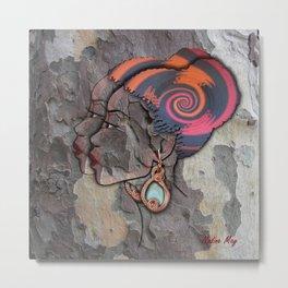 African lady profile on Bark Metal Print