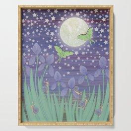 Moonlit stars, luna moths, snails, & irises Serving Tray