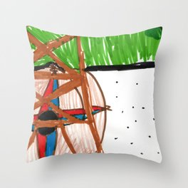 a sunny day in Paris at the Eiffel Tower Throw Pillow