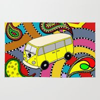 vw bus Area & Throw Rugs featuring Trippy VW-Style Love Bus Campervan - Yellow by Carrie at Dendryad Art