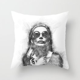 Portrait of a young Fashion lady Throw Pillow