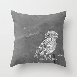 ATHENA'S OWL IN GREY BACKGROUND  Throw Pillow