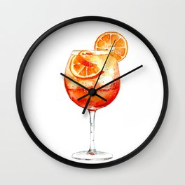 Cocktails. Aperol Spritz. Watercolor Painting. Wall Clock