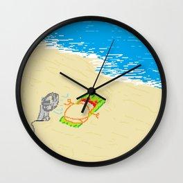 Boy at beach with fan Wall Clock