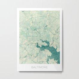 Baltimore Map Blue Vintage Metal Print