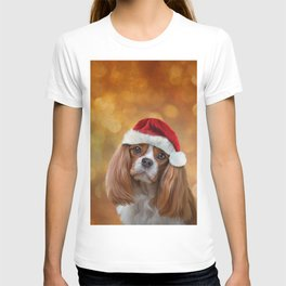 Drawing Dog breed Cavalier King Charles Spaniel  in red hat of Santa Claus T-shirt