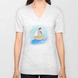 Watercolor whimsical sail boat on a windy day Unisex V-Neck
