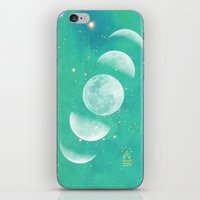 moon phase iPhone & iPod Skins featuring Moon Phase  by The Adventuring Soul