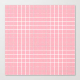 Light pink - pink color - White Lines Grid Pattern Canvas Print