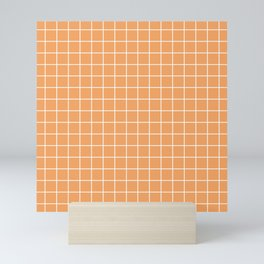 Sandy brown - pink color - White Lines Grid Pattern Mini Art Print