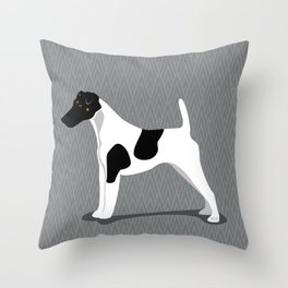 Roaring Smooth Fox Terrier by IxCO Throw Pillow