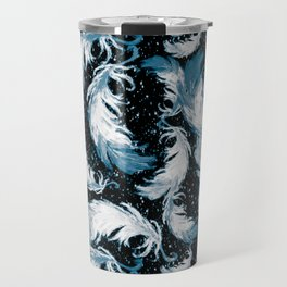 Feather Fest — Blue • Black Travel Mug