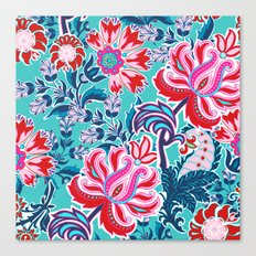 Bohemian Floral Paisley in Turquoise, Red and Pink Canvas Print