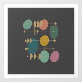 Mid Century Modern Atomic in Grey Art Print